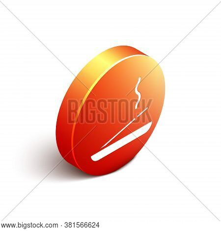 Isometric Scented Spa Stick On A Wooden Stand Icon Isolated On White Background. Incense Stick. Cosm