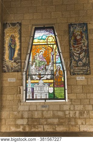 Nazareth, Israel January 26, 2020; A Mosaic Donated By The People Of Italy, One Of The Mosaics Offer