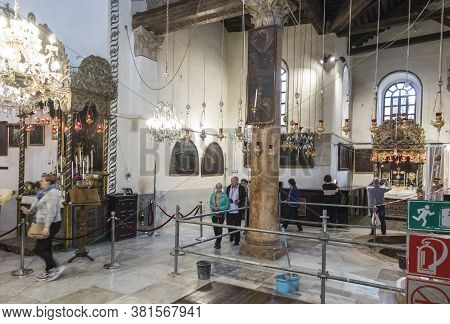 Bethlehem, Palestine - January 28, 2020: Fragment Of The Renovated Interior Of The Basilica Of The N