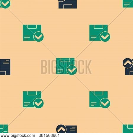 Green And Black Package Box With Check Mark Icon Isolated Seamless Pattern On Beige Background. Parc