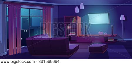 Living Room Interior With Tv And Sofa Back View At Night. Dark Apartment With Corner Couch Front Of