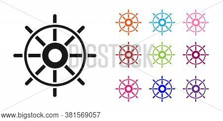 Black Ship Steering Wheel Icon Isolated On White Background. Set Icons Colorful. Vector Illustration