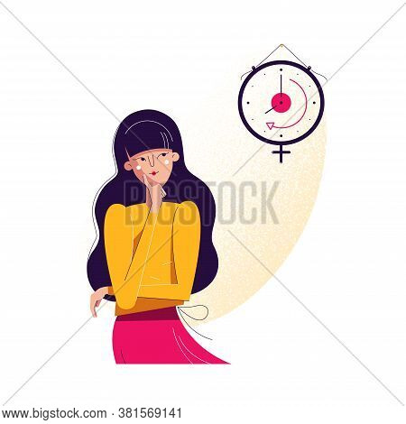 Biological Clock Concept. Woman Looking At Watch As Symbol Of Biological Life Countdown. Feminine Re