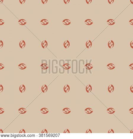 Repetition Of Orange Abstract Nut Shape Vertical And Horizontal Arranged With Sand Background Eps 10