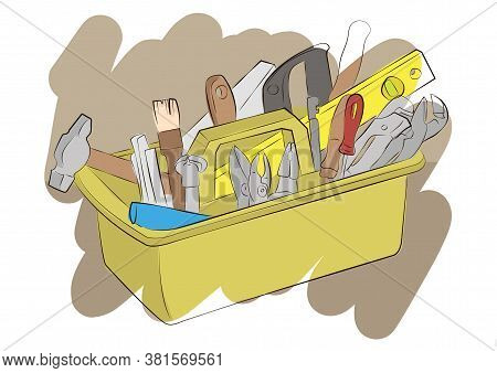 Set Of Construction Tooling In Box. Construction And Renovation Concept. Home Improvement Diy Constr