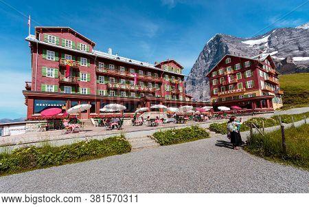 Kleine Scheidegg, Bernese Oberland, Switzerland - August 1 2019 : Hotel Bellevue Des Alpes And Touri