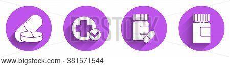 Set Medicine Pill Or Tablet, Cross Hospital Medical, Medicine Bottle And Pills And Medicine Bottle I