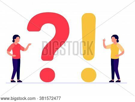 Frequently Asked Questions, Woman People With Question And Exclamation Marks. Abstract Girl Ask, Nee