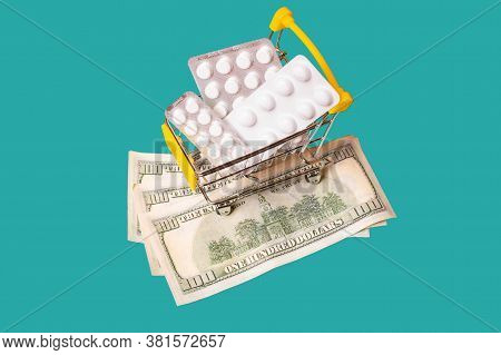 Shopping Cart With Medicines And Cash Isolated. Various Pack Of Pills In Shop Trolley. Buy And Shopp