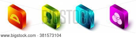 Set Isometric Protractor, Light Bulb, Marker Pen And Rgb And Cmyk Color Mixing Icon. Vector