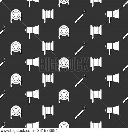 Set Cigarette, Megaphone, Fire Hose Reel And Fire Hose Reel On Seamless Pattern. Vector