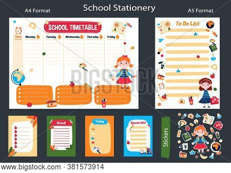 Printable Memo Children Stickers. Planner For Week In English. Schedule Program After School And Cho