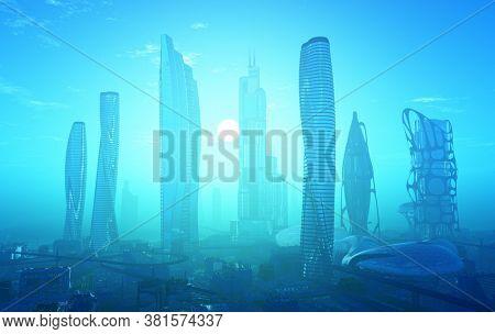 Modern building on a background sky,3d render