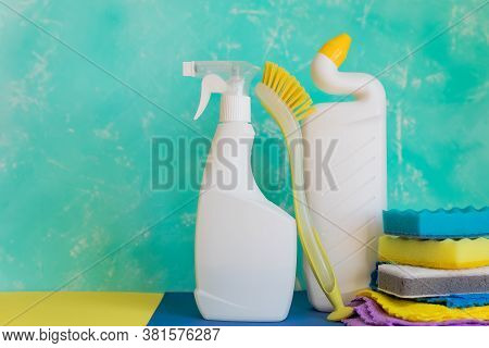 Cleaning Items Household , Spray, Brush, Sponge. Disinfection And Cleaning Products In Plastic Bottl