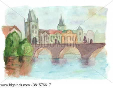 Drawing By Hand On White Paper Beautiful Background With Praha And Karlov Most. Watercolor Illlustra