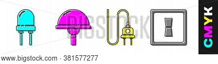 Set Light Emitting Diode, Light Emitting Diode, Electric Plug And Electric Light Switch Icon. Vector