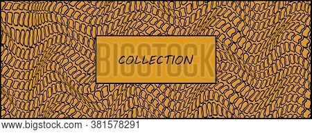 Abstract Decorative Frame For Your Inscription. Imitation Of Animal Skin. Yellow Background With Bla