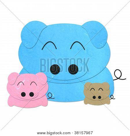 Rice Paper Cut Three Cute Cartoon Pigs