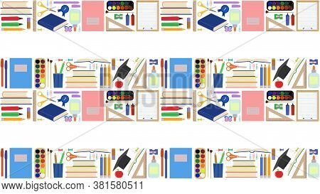 Seamless Pattern With School Supplies. Banner, Cover, Stationery Border. Educational Concept, Templa