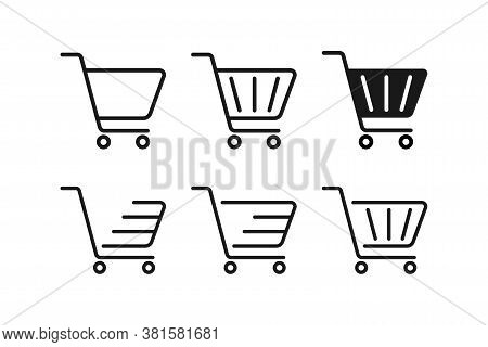 Set Of Shopping Cart In Black. Supermarket Trolley Icons. Empty Shop Basket. Buy Now Pictogram. Onli