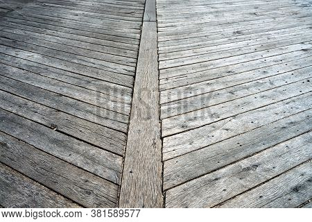 The Wooden Carriageway Of The Historic Bridge In Poland