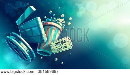 Online cinema art movie watching with popcorn and film-strip cinematograph concept vintage retro colors. 3D illustration.