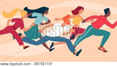 Diverse Group Of Young People Running As A Crowd Towards The Right Of The Frame, Colored Vector Illu