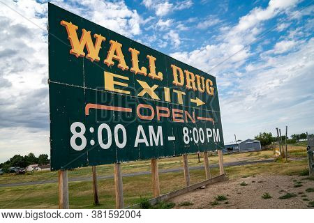 Wall, South Dakota - July 24, 2020: Sign For The Famous Roadside Attraction Wall Drug, A Drugstore A