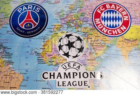 August 20, 2020 Lisbon, Portugal. The Emblems Of The 2019/2020 Uefa Champions League Finalists Fc Ba