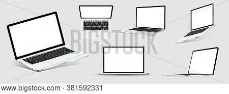 Great Collection Mockups Of Realistic Laptops. 3d Isometric Set Device. Side, Top View And Isometric