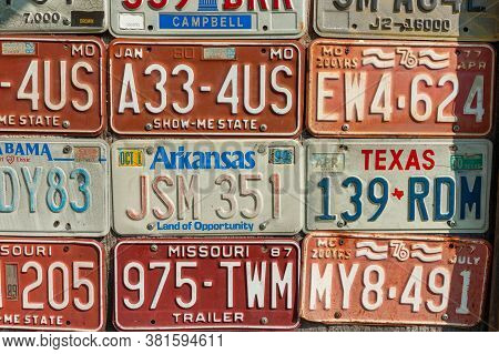 Carthage Usa - September 7 2015; Editorial Collection Old Vehicle Number Plates On Wall Recording Ol