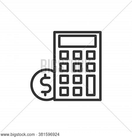Business Payday Icon With Calculator Line Style Vector Illustration