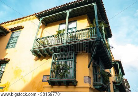 Cartagena, Colombia - August 20: Street Scene In The Historic Center Of Cartagena, Colombia On Augus