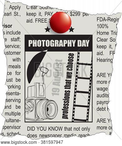 Fragment Of Classifieds Newspaper For Photography Day
