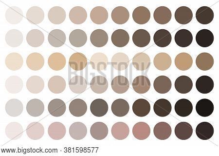 Skin Tones. Beige Palette. Fundamentals Of Complexion Shades. Samples Of Makeup Shades. Vector Illus