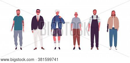 Set Of Modern Male Person Different Ages Vector Flat Illustration. Collection Of Various Man - Teena