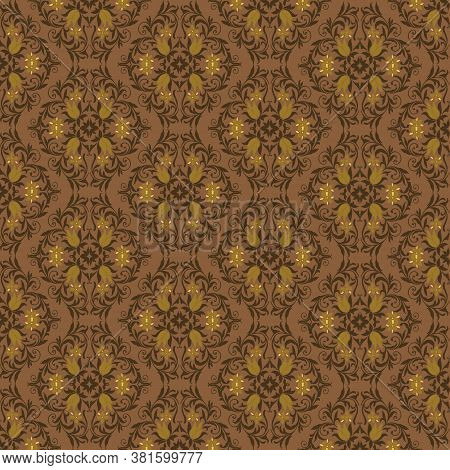 Beautiful Flower Motifs Design On Parang Batik With Simple Brown Golden Color Design.