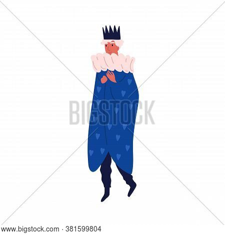 Funny Man Wearing Crown And King Costume Vector Flat Illustration. Happy Male In Carnival Clothes An