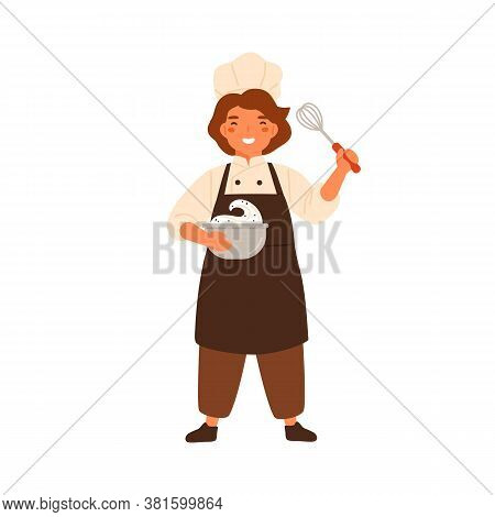 Happy Girl Confectioner Holding Bowl With Whipped Cream And Corolla Vector Flat Illustration. Smilin