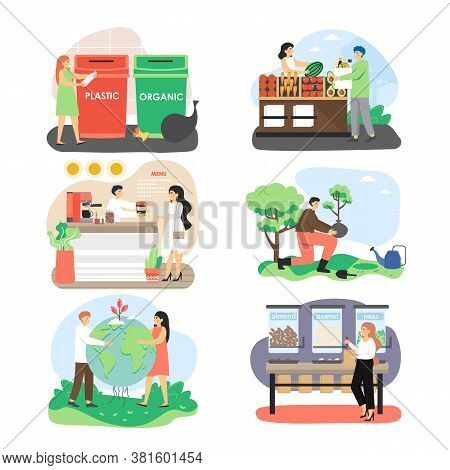 Ecologist, Male And Female Character Set, Flat Vector Isolated Illustration. Save Planet, Environmen
