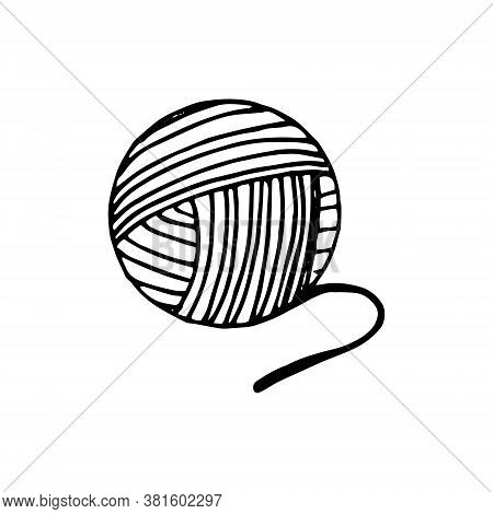 Ball Of Yarn For Knitting Hand Drawn In Doodle Style. Single Element For Design Icon, Sticker, Poste