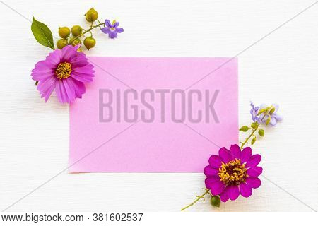 Notepaper With Pink Flowers Cosmos ,purple Flowers Arrnagement Flat Lay Postcard Style On Background