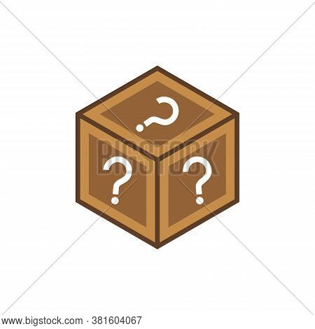 Mystery Box Icon Vector. Random Loot Box Flat Vector Icon For Games And Apps.