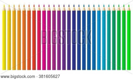 Colored Pencils, Crayons Set, Back To School. Color Spectrum Vector Pencils And Crayons Isolated On