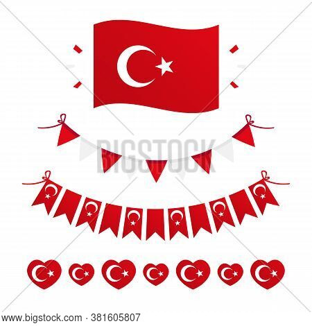 Flag Of Turkey Design Elements, Borders, Garlands Set, Collection For Turkish Public And National Ho