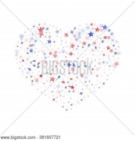 American Presidents Day Stars Background. Holiday Confetti In Us Flag Colors For Patriot Day.  Vivid