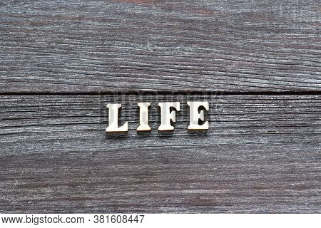 It Is Written In Wooden Letters: Life, On A Wooden Background. Safe Life. Protecting Life. Safe Fami