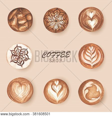 Set Latte Art, Heart Shape, Ice Coffee, Latte Art Coffee. Top View Of Hot Coffee Cappuccino Latte Ar
