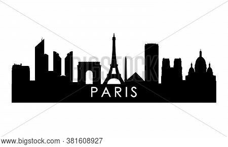Paris Skyline Silhouette. Black London City Design Isolated On White Background.