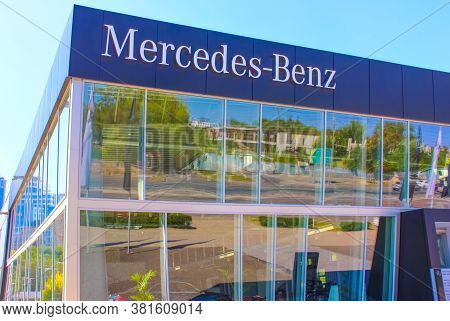 Kyiv, Ukraine - August 15, 2020: Mercedes-benz Logo Automobile Dealership Sign And Store At Kyiv, Uk